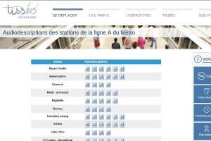 imprim écran du site TISSEO proposant les audio description