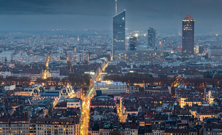 Ville de Lyon la nuit